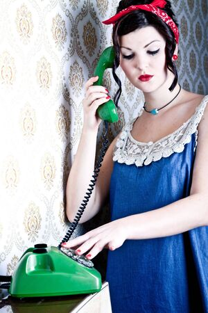 woman is calling someone photo