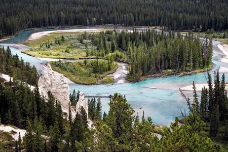 hoodoos: Bow River and the Hoodoos near Banff Canadian Rockies Alberta Canada