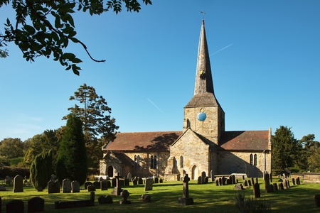 steeplejack: View of Horsted Keynes church on a sunny autumn day Stock Photo