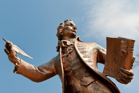 british weather: Statue of Thomas Paine author of Rights of Man in Thetford Norfolk Stock Photo