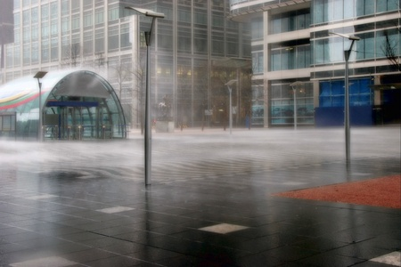 Torrential rain at Canary Wharf photo
