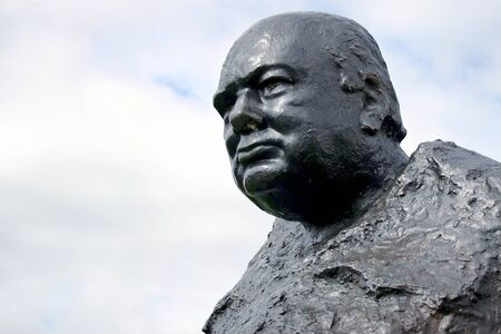 the statesman: Close-up of the statue of Sir Winston Churchill at Westerham Kent