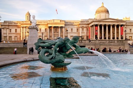 out in town: Tritons and dolphin fountain Trafalgar Square