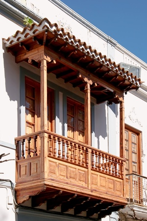Close-up of a wooden balcony on a building in Gran Canaria photo