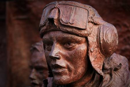 airman: Close-up of part of the Battle of Britain monument on the Embankment in London