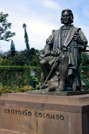 colonizer: Statue of Christovao Colombo (Christopher Colombus) in Funchal Madeira