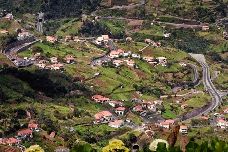 View of a winding road through the Madeira landscape photo
