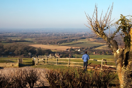 Admiring the view from the South Downs at Ditchling Stock Photo - 8401126