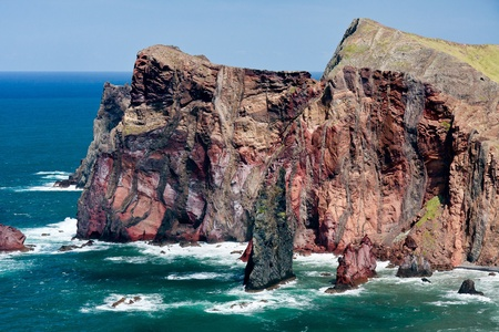 Cliffs at St Lawrence Madeira showing unusual vertical rock formation photo