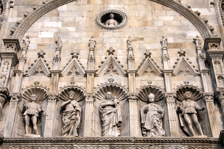 Detailed view of part of the cathedral or duomo in Como Italy photo