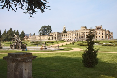 Witley Court ruins formal gardens and classical fountains Stock Photo
