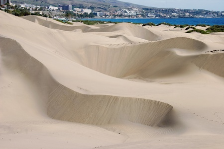 canaria: A view of the sand dunes near Maspalomas Gran Canaria Stock Photo