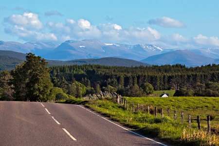 Road to the Cairngorm mountains Stock Photo