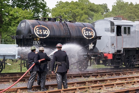 Bluebell Railway, Horsted Keynes, West Sussex, UK  - May 7, 2011 -Southern at War re-enactment day