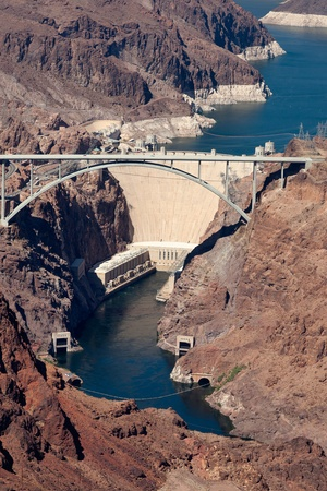 mead: View of the Hoover dam and bridge