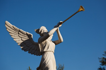 Angel playing golden bugle
