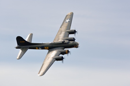 Memphis Belle Boeing B 17 bomber flying over Shoreham airfield Stock Photo