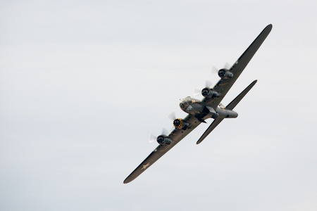 belle: Memphis Belle Boeing B 17 bomber flying over Shoreham airfield Editorial