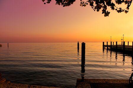 garda: Sunset at Riva del Garda Stock Photo