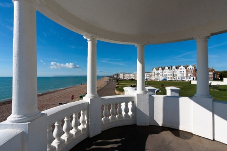 View from a colonnade in the grounds of the De la Warr Pavillion
