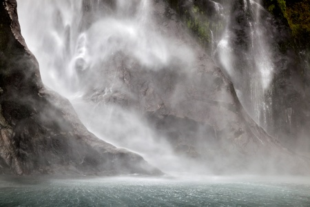 Waterfall at Milford Sound photo