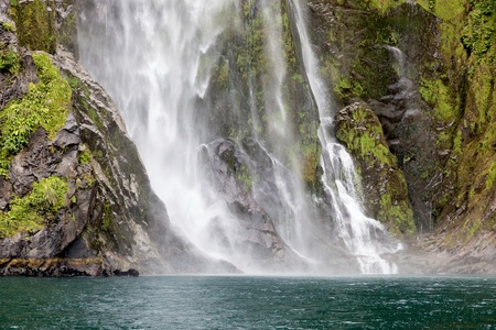 fiordland: Waterfall at Milford Sound