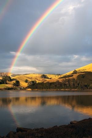 Double rainbow over the Otago Peninsula photo