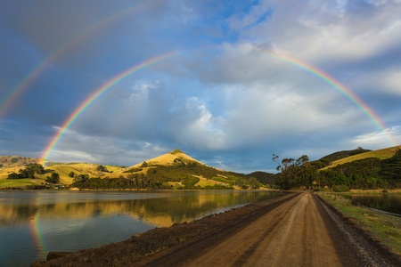 Double rainbow over the Otago Peninsula photo