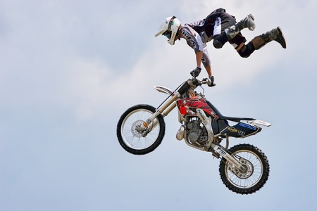 Stunt motorcyclist at the Hop Farm in Kent Editorial
