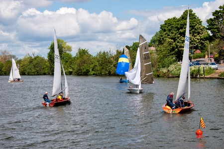 dinghies: Sailing on the River Thames near Kingston-upon-Thames Surrey
