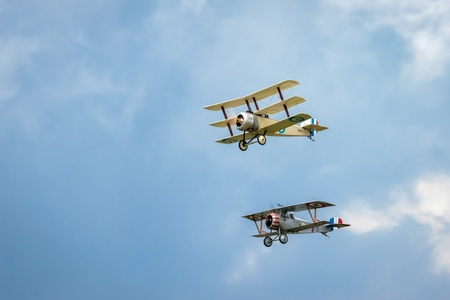fixed wing aircraft: Nieuport 17 (Great War Team) and Sopwith Triplane aerial display at Biggin Hill Airshow