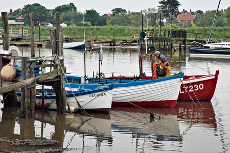 southwold: Row of fishing boats in Southwold harbour Editorial
