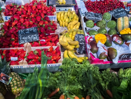 fruit and veg: Fruit and veg stall in Fuengirola market