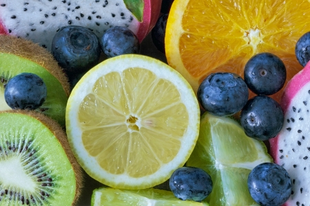 medley: Medley of different edible fruits ready to eat
