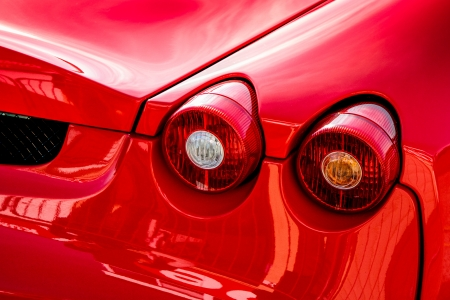 reversing: Close-up of the rear of a sports car Stock Photo