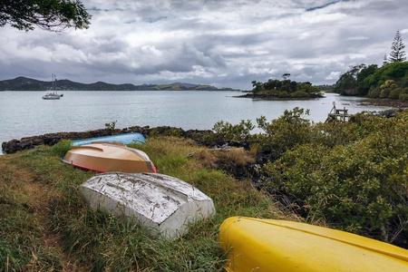 upturned: Upturned rowing boats at Kerikeri Stock Photo