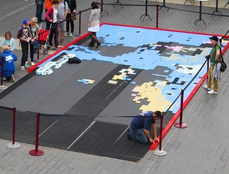 south london: Giant jigsaw map on South Bank London