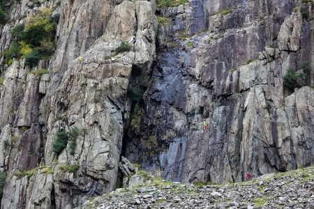 Rock climbing in Snowdonia photo