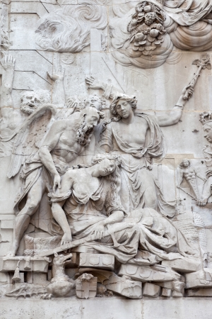 allegorical: Allegorical sculpture on the pedestal of the Monument London executed Caius Gabriel Cibber