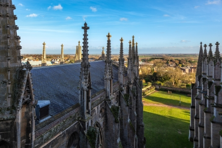 cambridgeshire: Exterior view of Ely Cathedral roofline Stock Photo