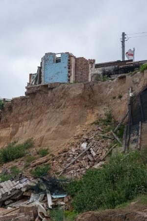 land slide: Coastal erosion at Happisburgh Norfolk