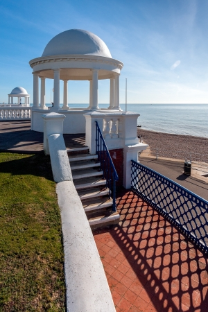 Colonnades in grounds of De La Warr Pavilion Bexhill On Sea Stock Photo