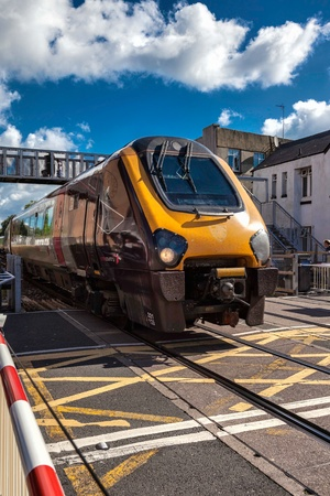 rapid steel: Diesel locomotive passing through Paignton Editorial