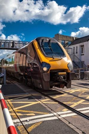 diesel: Diesel locomotive passing through Paignton Editorial