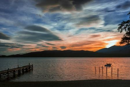 anau: Sunset at Lake Te Anau Stock Photo