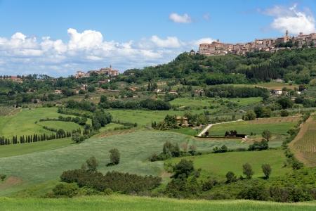montepulciano: View up to Montepulciano Tuscany Stock Photo