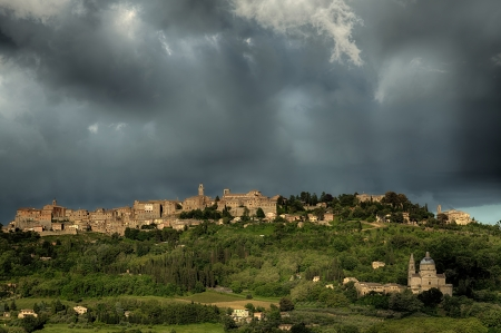 montepulciano: View of Montepulciano and San Biagio under stormy conditions