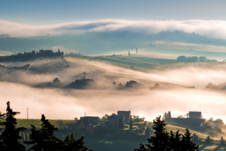 orcia: Sunrise over Val d Orcia Stock Photo