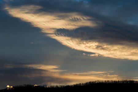 effect sunset: Rainbow Effect Sunset at Lake Stock Photo