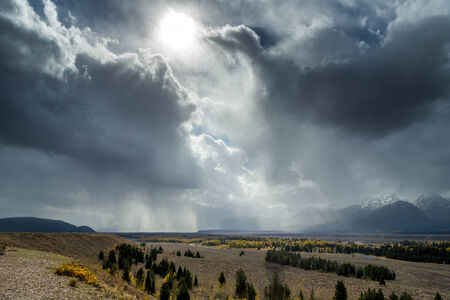 approaching: Scenic view of the Grand Teton National Park